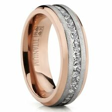 Rose Plated Brushed Titanium Wedding Ring Eternity Band with Channel Set Princes