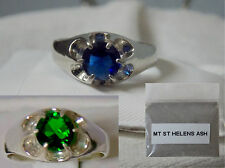 1ct blue or green helenite 925 sterling silver ring size 5 mt st helens ash USA