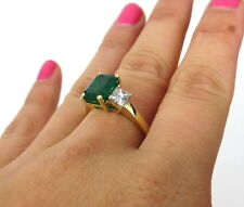 Estate 2.95ct Colombian Emerald & 1.04ct Diamond Saks Fifth Ave 18K Gold Ring