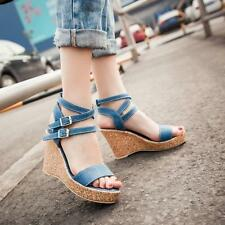 Roma Fashion Women Dress Sandals Shoes Strappy Hollow Wedge High Heel Shoes New