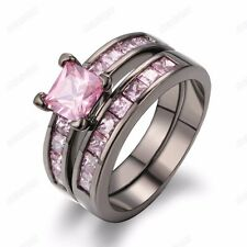 Women 2-in-1 Pink Cubic Zirconia 18k Black Gold Plated Band Ring Set Jewelry