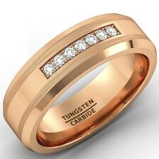 8mm Rose Gold Tungsten Carbide Ring with Brilliant CZ DIAMDS Mens Wedding Band