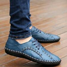 Mens Breathable Lace up Driving Moccasins Loafers Casual Dress Leather Shoes New