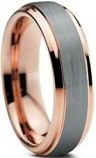 Tungsten Wedding Band Ring 6mm For Men Women Comfort Fit 18K Rose Gold Plated