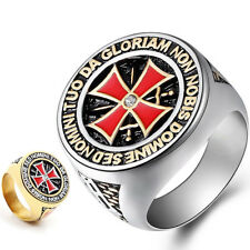 Knights Templar Masonic Red Cross Ring Gold Silver 316L Stainless Steel Size8-15