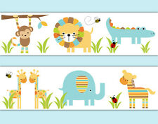 Safari Nursery Decor Wallpaper Border Decals Boy Jungle Animal Wall Art Sticker