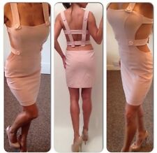Womens Stunning Nude Pink Boutique Unique Celeb Style Hot Dress Sz S 8 10