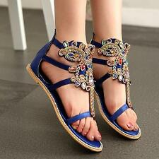 New  Womens Open Toe Flat Luxury Rhinestone Sandal Ankle Boot Roma T-Strap Shoes