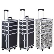 4 in1 Aluminum Interchangeable Rolling Makeup Case Cosmetic Train Box Trolley