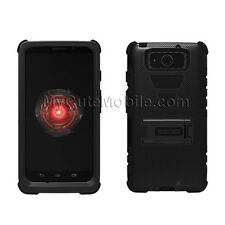 Motorola Droid Maxx XT1080M/ Droid Ultra Case -Black Hybrid Hard Kickstand Cover