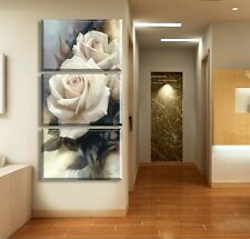 3Pcs White rose flower Home Decor Art Painting Modern Picture Oil Canvas Wall