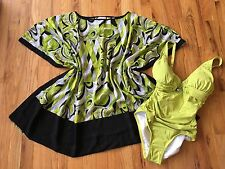 Michael Kors Limeade Green Black Caftan Swimsuit cover up Tunic Top NWT XS S