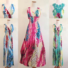 Maxi Sundress V Neck Matching Lacey Floral Back Summer Beach Boho Hawaiian S-XL