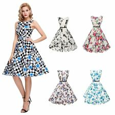 Floral Women Lady Pinup Vintage 1950s 1960s Rockabilly Summer Party Dress