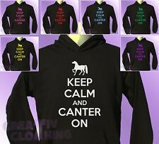 Black Hoodie KEEP CALM and CANTER ON boys girls Horse Riding Pony Ride hoody