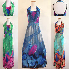 Maxi Long Sundress Halter Dual Layer Spaghetti Strap Floral Summer Beach Boho