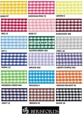 BERISFORDS GINGHAM CHECK RIBBON 10MM WIDE 18 COLOURS- 1 METRE TO A FULL ROLL