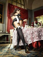 Baci Sexy Costume Black Opaque Thigh-High Stockings & Bow