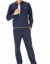 HUGO BOSS Men's Navy Blue And Gray Cotton Blend Long Sleeve Tracksuit Sweatsuit