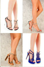 New Silver Gold Black Rhinestone Strappy Sandal High Heels Faux Leather Platform