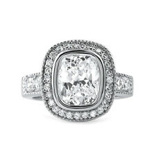 3.40 CTW Cushion Cut Flawless 5A CZ Halo Engagement Ring Looks Real