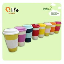 New Colorful Eco Friendly 13OZ Bamboo Fiber Travel Coffee Mug Cup with Lid