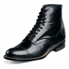 Mens Madison 00015 Black Stacy Adams Ankle Boot Biscuit Cap Toe Lace Up SALE New
