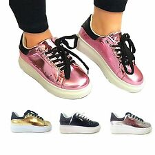 WOMENS SHOES LADIES TRAINERS SNEAKERS LACE UP PLATFORM NEW FLATFORM SIZE WEDGE