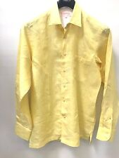 NWT Men's Inserch 100% Linen Shirt Full Cut High Quality Summer Spring Yellow