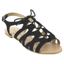 CityClassified IB21 Women's Caged Criss-cross Strappy Lace Up Gladiator Sandals