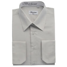 BERLIONI MEN'S CONVERTIBLE CUFF SOLID ITALIAN FRENCH DRESS SHIRT SILVER