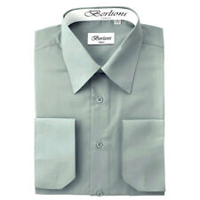 BERLIONI MEN'S CONVERTIBLE CUFF SOLID ITALIAN FRENCH DRESS SHIRT GRAY