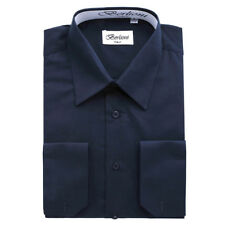 BERLIONI MEN'S CONVERTIBLE CUFF SOLID ITALIAN FRENCH DRESS SHIRT NAVY