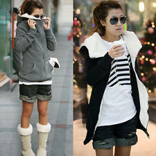 Womens Fleece Long Sleeve Sweatshirt Coat Hooded Hoodie Jacket Sweater Outwear