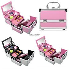 Makeup Train Case Cosmetic Organizer w/ Mirror 3 Trays Aluminum Jewelry Box hfor