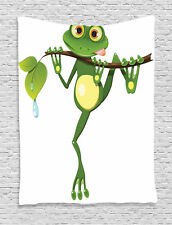 Little Frog on Branch in Rainforest Nature Art Earth Print Wall Hanging Tapestry