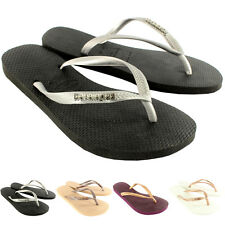 Womens Havaianas Slim Logo Metallic Flip Flop Summer Beach Sandal UK Sizes 1-8