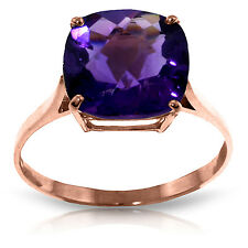 3.6 CTW 14K Solid Rose Gold Ring Natural Checkerboard Cut Purple Amethyst