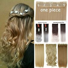 Hot 5Clips Hair Clip In Hair Extension Blonde Human Ombre 100% Real Natural H722