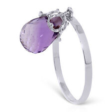 Brand New 3 ct 14K   White Gold Ring Dangling Briolette Purple Amethyst