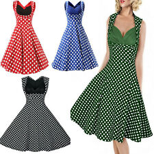 1950s Rockabilly Women Vintage Polka Dot Evening Party Prom Swing Sun Dress 8-16