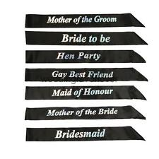 Black Bling Sash Hen Night Bride to Be Sashes Party Do Beidesmaid Accessories