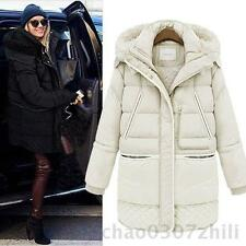 Winter Womens Warm Down Long Jacket Lamb's Wool Coat Thick White Duck Down Coat