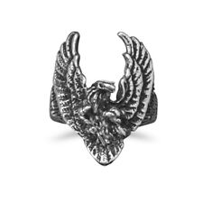 Mens Eagle Ring 316L Surgical Stainless Steel Antique Finish Hypoallergenic