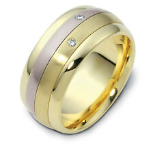 14K Two-Tone, Rolling Two Row 9MM Wedding Band, 1/10 cttw sz 4-14
