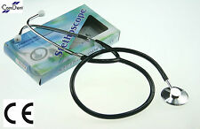 Dual Head Stethoscope Medical EMT Nurse Doctor Vet Student Adult Size Black CE
