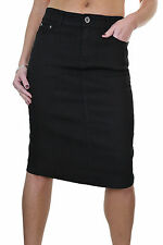 NEW (2546-1) Ladies Stretch Jeans Skirt Smooth Wash Black 12-24