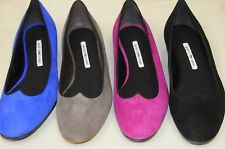 $755 NEW MANOLO BLAHNIK Black Pink Royal Blue Taupe Suede ESPER Flats SHOES