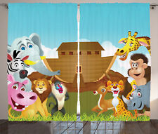 Noah's Ark Journey with all Animals Myth Faith Art print Curtain 2 Panels Set