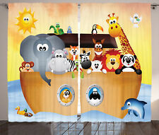 Cute Animals in Noah's Ark Narrative Graphic Nature Print Curtain 2 Panels Set